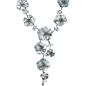 PalmBeach Silvertone Black Mother-of-Pearl Flower 18 in. Necklace