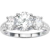 PalmBeach 10K White Gold Round and Oval-Cut Cubic Zirconia 3-Stone Bridal Ring