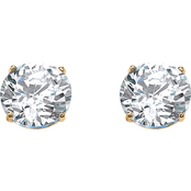 Palm Beach 10K Yellow Gold Round Cubic Zirconia Stud Earrings