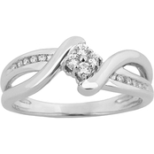 Expressions of Love 10K White Gold 1/6 CTW Diamond Ring, Size 7