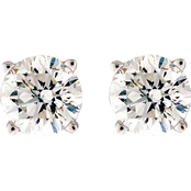 14K White Gold 3/8 CTW Round Cut Colorless Diamond Stud Earrings