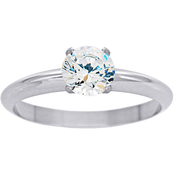 14K White Gold 1/2 ct. Round Cut Colorless Diamond Engagement Ring, Size 7