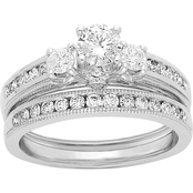 14K White Gold 1 CTW Round Cut Colorless Diamond Bridal Set