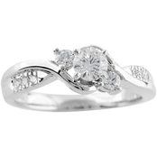 14K White Gold 1/2 CTW Diamond Engagement Ring, Size 7