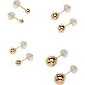 PalmBeach 14K Yellow Gold 4 Pair Ball Earring Set