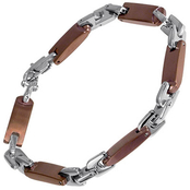 Stainless Steel and Brown Immersion Plated Link Bracelet