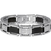 Stainless Steel Black Immersion Plated Cubic Zirconia Bracelet