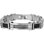 Stainless Steel Bracelet with Cable Inset