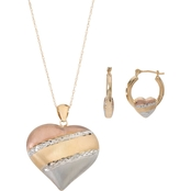 10K Gold and Sterling Silver Heart Pendant and Hoop Set