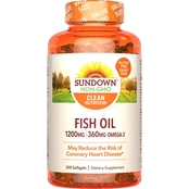 Sundown Naturals Fish Oil 1200 mg Softgels 300 Pk. Value Size