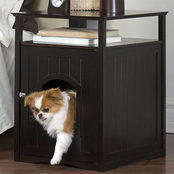 Merry Products Cat Washroom, Litter Box Cover and Night Stand Pet House, Espresso