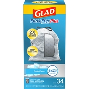 Glad ForceFlex Tall Kitchen Drawstring Odor Shield with Febreze 13 Gal. Bags 34 Pk.