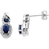 10K White Gold Sapphire Earrings with Diamond Accents