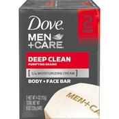 Dove Men + Care Deep Clean Body and Face Bar Soap 2 pk.