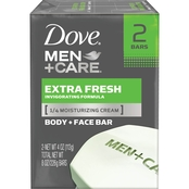 Dove Men + Care Extra Fresh Body and Face Bar Soap 2 pk.