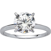 PalmBeach 10K White Gold Cubic Zirconia Solitaire Ring