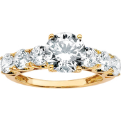 10K Yellow Gold Round Cubic Zirconia Ring