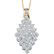 PalmBeach 10K Yellow Gold 1/10 CTW Diamond Cluster Pendant