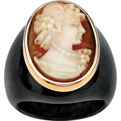 PalmBeach 10K Yellow Gold Genuine Shell Cameo and Onyx Ring, Size 10