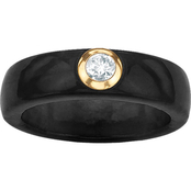 PalmBeach 10K Yellow Gold White Topaz and Black Jade Ring, Size 5