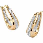 PalmBeach 18K Yellow Gold over Sterling Silver Diamond Accent Hoop Earrings