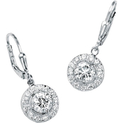 PalmBeach Round Cubic Zirconia Halo Drop Earrings in Sterling Silver