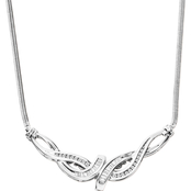 Sterling Silver 1/4 CTW Bypass Diamond Necklace