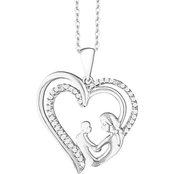 10K White Gold 1/10 CTW Mother and Child Heart Pendant