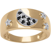 PalmBeach 10K Gold Sapphire Moon and Stars Ring with Diamond Accent, Size 10