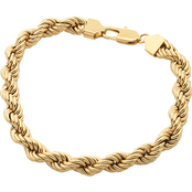 Yellow Ion Plated Stainless Steel Solid Rope Bracelet
