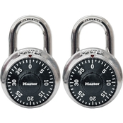 Master Lock 1-7/8 in Wide Combination Dial Padlock, 2 Pk.