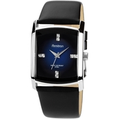 Armitron Men's Swarovski Crystal Accented Black Leather Strap Watch 20/4604DBSVB