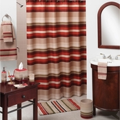 Saturday Knight Madison Stripe Red Shower Curtain