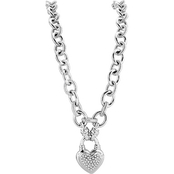 Sterling Silver 1/4 CTW Diamond Heart Charm Necklace