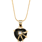 PalmBeach Onyx Heart Pendant with Cubic Zirconia Accent