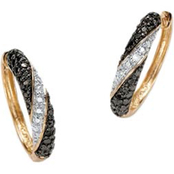 PalmBeach Stainless Steel and 18K Yellow Gold Black and White Diamond Earrings