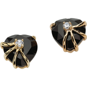 PalmBeach Onyx Heart Earrings with Cubic Zirconia Accents