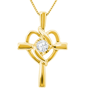 Sirena 14K 1/8 ct. Diamond Cross and Heart Pendant
