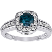 14K White Gold 1 CTW Dana Blue and White Diamond Engagement Ring, Size 7