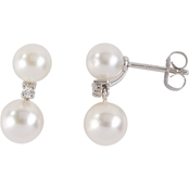 Blue Lagoon By Mikimoto 14K White Gold Pearl and Diamond Accent Earrings