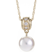 Blue Lagoon by Mikimoto 14K Yellow Gold 1/10 CTW Diamond and 7mm Pearl Pendant