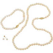 14K Yellow Gold 4mm White Freshwater Pearl 3-Pc. Jewelry Set