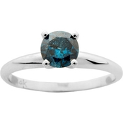 14K White Gold 1/2 ct. Blue Diamond Solitaire Ring, Size 7