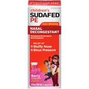 Sudafed Pe Children's Nasal Decongestant Berry Flavor Liquid 4 Oz.