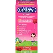 Benadryl Children's Allergy & Sinus Cherry Flavor Liquid 8 Oz.