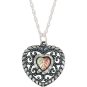 Black Hills Gold Sterling Silver and 12K Gold Oxidized Heart Pendant