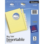 Avery Insertable Big Tab Dividers, 5 Tab Letter Size Set