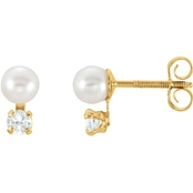 Karat Kid 14K Yellow Gold Pearl and Cubic Zirconia Earrings