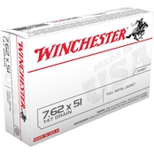 Winchester USA 7.62x51mm 147 Gr. FMJ, 20 Rounds
