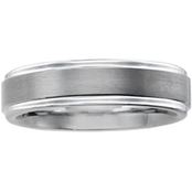 White Tungsten Carbide Wedding Band with Brushed Center